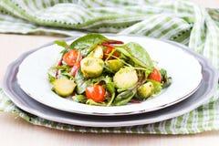 Υγιής σαλάτα με το λάχανο νεαρών βλαστών των Βρυξελλών, ντομάτες, σαλάτα Στοκ Εικόνες