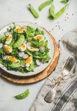 Υγιής σαλάτα με το ραδίκι, βρασμένο αυγό, arugula, πράσινο μπιζέλι, μέντα Στοκ Εικόνα