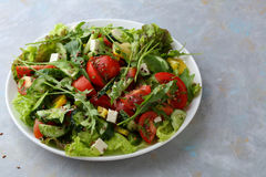 Υγιής σαλάτα με το arugula στο πιάτο Στοκ Φωτογραφία