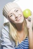 υγιής τρόπος ζωής έννοιας Πορτρέτο κινηματογραφήσεων σε πρώτο πλάνο του χαμόγελου καυκάσιο Στοκ Εικόνα