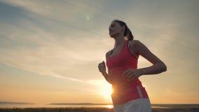 υγιής τρόπος ζωής έννοιας Σε αργή κίνηση jogging διαδικασία μιας όμορφης κυρίας απόθεμα βίντεο