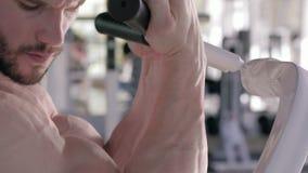 Υγιής τρόπος ζωής, μυϊκό αθλητικό αρσενικό που κάνει τις ασκήσεις δύναμης στους μυς των χεριών στον προσομοιωτή κατά τη διάρκεια  απόθεμα βίντεο