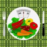 Υγιής τρόπος ζωής υγεία θερμίδες Το βάρος διανυσματική απεικόνιση