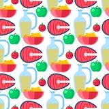 Υγιής τρόπου ζωής διατροφής κουάκερ cerreal μήλων διανυσματική απεικόνιση υποβάθρου σχεδίων λαχανικών άνευ ραφής Στοκ Εικόνα