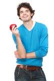 Υγιής τύπος με την κόκκινη Apple Στοκ Φωτογραφίες