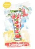υγιής φράουλα διαλύματος ανθρώπων κοκτέιλ ελεύθερη απεικόνιση δικαιώματος