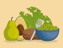 Υγιή εικονίδια επιλογών τροφίμων ελεύθερη απεικόνιση δικαιώματος
