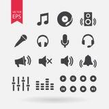 Υγιή εικονίδια καθορισμένα διανυσματικά Σημάδια μουσικής στο άσπρο υπόβαθρο Ακουστικά στοιχεία για το σχέδιο Διανυσματικό επίπεδο Στοκ Εικόνες