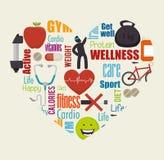 Υγιή εικονίδια τρόπου ζωής Wellness Στοκ Εικόνες