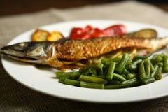 Υγιή και κατάλληλα τρόφιμα, ψημένα στη σχάρα ψάρια και λαχανικά Στοκ εικόνα με δικαίωμα ελεύθερης χρήσης