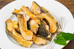 Υγιή και τρόφιμα διατροφής: Τηγανισμένος κυπρίνος ψαριών Στοκ εικόνες με δικαίωμα ελεύθερης χρήσης