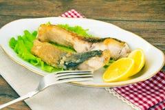 Υγιή και τρόφιμα διατροφής: Τηγανισμένος κυπρίνος ψαριών Στοκ Εικόνα