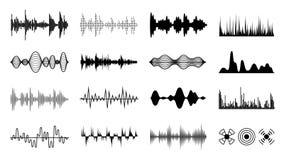 Υγιή κύματα καθορισμένα Μαύρο ψηφιακό ραδιο μουσικό κύμα Ακουστικές μορφές ηχητικών λωρίδων Οι μορφές σφυγμού φορέων απομόνωσαν τ διανυσματική απεικόνιση