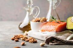 Υγιή λίπη στη διατροφή στοκ φωτογραφία
