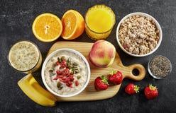 Υγιή συστατικά προγευμάτων στοκ εικόνες