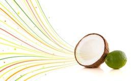 Υγιή τροπικά φρούτα με τις ζωηρόχρωμες αφηρημένες γραμμές Στοκ Φωτογραφίες