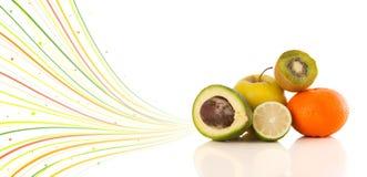 Υγιή τροπικά φρούτα με τις ζωηρόχρωμες αφηρημένες γραμμές Στοκ Εικόνα