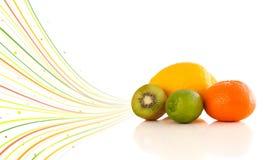 Υγιή τροπικά φρούτα με τις ζωηρόχρωμες αφηρημένες γραμμές Στοκ Εικόνες