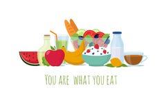 Υγιή τρόφιμα διατροφής ισορροπίας Καλύτερα γεύματα για το διανυσματικό υπόβαθρο ζωής απεικόνιση αποθεμάτων