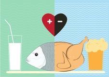 Υγιή τρόφιμα και ανθυγειινά τρόφιμα, υγιής τρόπος ζωής, Στοκ Φωτογραφίες