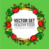 Υγιή τρόφιμα κύκλων πλαισίων λαχανικών στοκ εικόνα