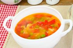 Υγιή τρόφιμα: Λαχανικά σούπας ψαριών Στοκ Εικόνα