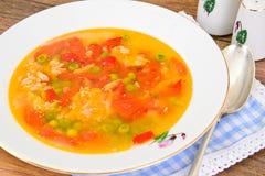 Υγιή τρόφιμα: Λαχανικά σούπας ψαριών Στοκ Φωτογραφία