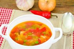 Υγιή τρόφιμα: Λαχανικά σούπας ψαριών Στοκ Εικόνες