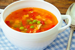 Υγιή τρόφιμα: Λαχανικά σούπας ψαριών Στοκ φωτογραφία με δικαίωμα ελεύθερης χρήσης