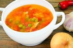Υγιή τρόφιμα: Λαχανικά σούπας ψαριών Στοκ εικόνα με δικαίωμα ελεύθερης χρήσης