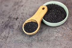 Υγιή τρόφιμα - μαύρος σπόρος στο σκοτεινό υπόβαθρο στοκ εικόνα με δικαίωμα ελεύθερης χρήσης