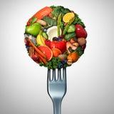 Υγιή τρόφιμα που τρώνε το σύμβολο διανυσματική απεικόνιση