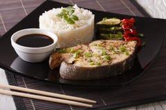 Υγιή τρόφιμα: Ψάρια μπριζόλας, ρύζι και κινηματογράφηση σε πρώτο πλάνο σάλτσας σόγιας horizonta Στοκ Εικόνες