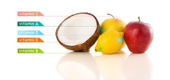 Υγιή φρούτα με τα ζωηρόχρωμα σύμβολα και τα εικονίδια βιταμινών στοκ φωτογραφία με δικαίωμα ελεύθερης χρήσης