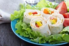 Υγιή tortilla πρόχειρων φαγητών μεσημεριανού γεύματος περικαλύμματα Στοκ εικόνα με δικαίωμα ελεύθερης χρήσης