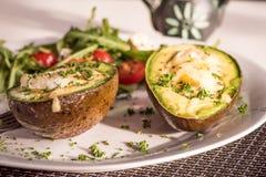 Υγιή vegan πιάτα - αβοκάντο που ψήνεται με το αυγό στοκ εικόνες