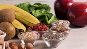 Υγιή vegan τρόφιμα απόθεμα βίντεο