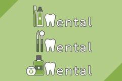 Υγιείς δόντια και φίλος που συνδυάζονται ως οδοντική λέξη διανυσματική απεικόνιση