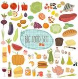 Υγιείς επιλογές, συλλογή απεικονίσεων τροφίμων Στοκ Εικόνες