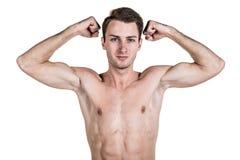 Υγιείς τρόπος ζωής και ικανότητα Όμορφος αθλητισμός τύπων μια διάπλαση, με ένα γυμνό σώμα, καταδεικνύει ένας μυς, που απομονώνετα Στοκ εικόνες με δικαίωμα ελεύθερης χρήσης