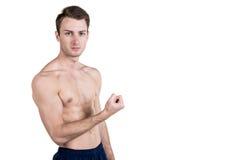 Υγιείς τρόπος ζωής και ικανότητα Όμορφος αθλητισμός τύπων μια διάπλαση, με ένα γυμνό σώμα, καταδεικνύει ένας μυς, που απομονώνετα Στοκ φωτογραφίες με δικαίωμα ελεύθερης χρήσης