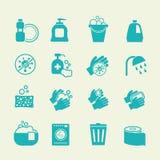 Υγιεινή και καθαρίζοντας εικονίδια Πλένοντας αντισηπτικά, προσωπικά διανυσματικά σημάδια οικιακής φροντίδας απεικόνιση αποθεμάτων