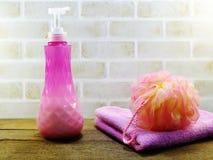 Υγιεινή που καθαρίζει τα εξαρτήματα SPA με τα προϊόντα λουτρών κρέμας σαπουνιών και ντους σαμπουάν Στοκ Φωτογραφία