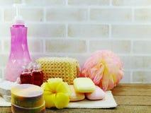 Υγιεινή που καθαρίζει τα εξαρτήματα SPA με τα προϊόντα λουτρών κρέμας σαπουνιών και ντους σαμπουάν Στοκ Εικόνες