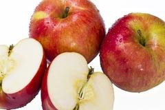 Υγρά κόκκινα μήλα Στοκ Εικόνες