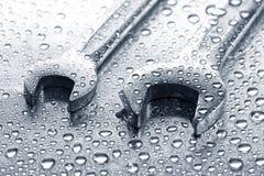 Υγρά κλειδιά στο μέταλλο Στοκ φωτογραφία με δικαίωμα ελεύθερης χρήσης