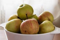 Υγρά μήλα σε ένα άσπρο κύπελλο Στοκ φωτογραφία με δικαίωμα ελεύθερης χρήσης