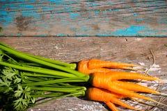 Υγρά φρέσκα καρότα με τα φύλλα στον ξύλινο Στοκ Εικόνες