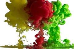 Υγρή κίνηση χρωμάτων - κίτρινη, κόκκινος, πράσινος στοκ φωτογραφίες