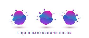 Υγρή μορφή ΧΡΩΜΑΤΟΣ, σύγχρονο αφηρημένο σύνολο εμβλημάτων γεωμετρικό επίπεδο με τα διάφορα χρώματα - διάνυσμα απεικόνιση αποθεμάτων